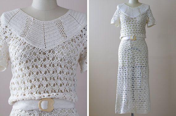 1930s Crochet Dress / 30s Hand Crochet Cotton by WearAreTheyNow, $164.00