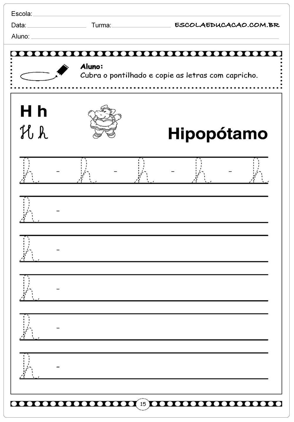Alfabeto Cursivo Letra H Maiuscula Atividades Letra E