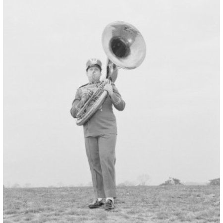 Tuba player of marching band Canvas Art - (24 x 36)