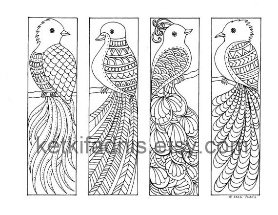 Coloring Bookmarks - Birds of Paradise - PDF Download - Bookmarks to ...