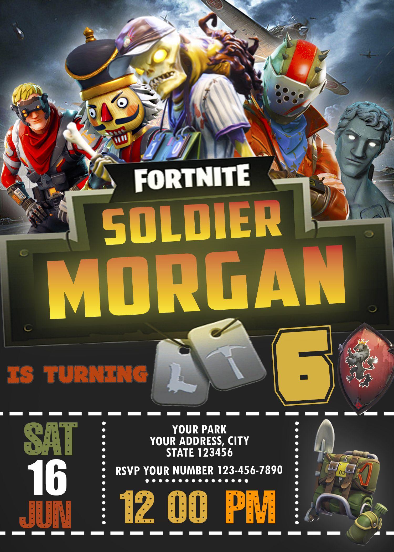 Fortnite Birthday Invitation Party Invite Battle Royale