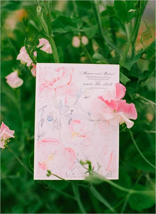 watercolor save the date http://www.weddingchicks.com/2013/10/18/heirloom-wedding-ideas/