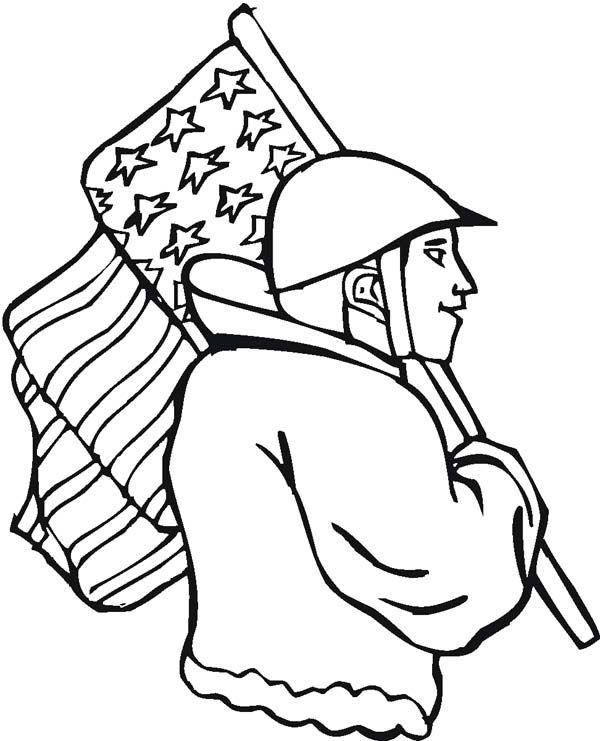 A Soldier with American Flag on Veterans Day Coloring Page ...