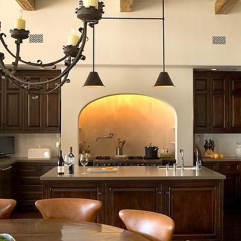 Kitchen Range Alcove, Parallel Narrow Island With Sink (centered Though),  Countertop To
