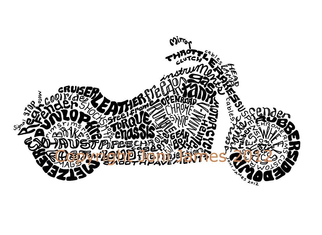 Pin up motorcycle line art jpg - Pen And Ink Calligraphy Motorcycle Drawing Harley Davidson Word Art Motorcycle Art Typography Illustration Calligram