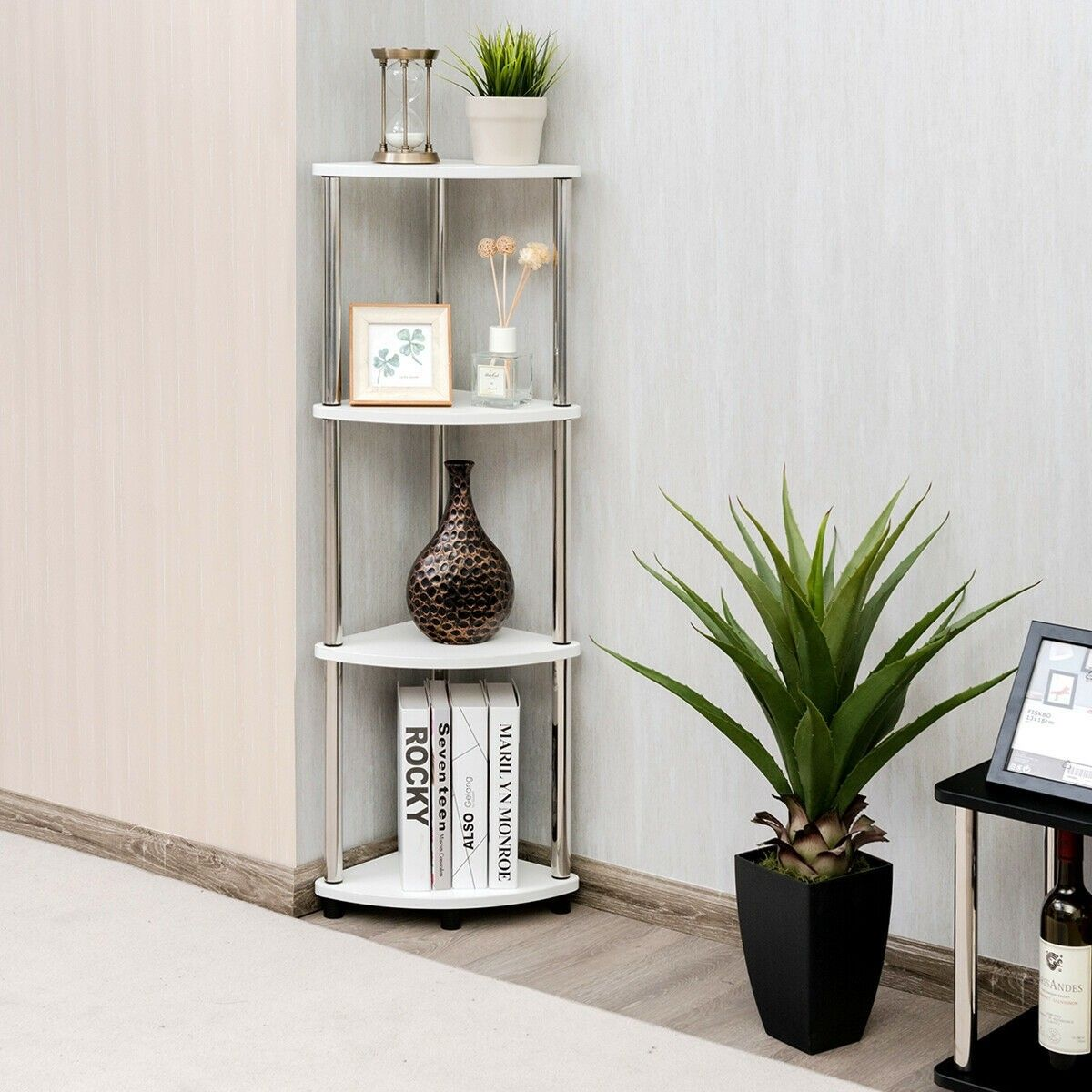4 Tier Light Duty Living Room Display Stand Corner Shelf Room Display Corner Shelves Wall Mounted Corner Shelves