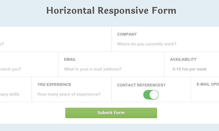 Responsive Css Horizontal ApplicationStyle Form Fields  Fields