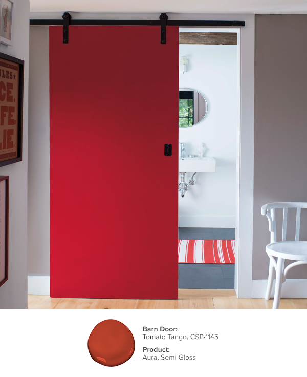 Make Your Room Stand Out With Benjamin Mooreu0027s Aura Color Stories  Collection. Barn Door: Tomato Tango CSP 1145, Aura Interior Semi Gloss.