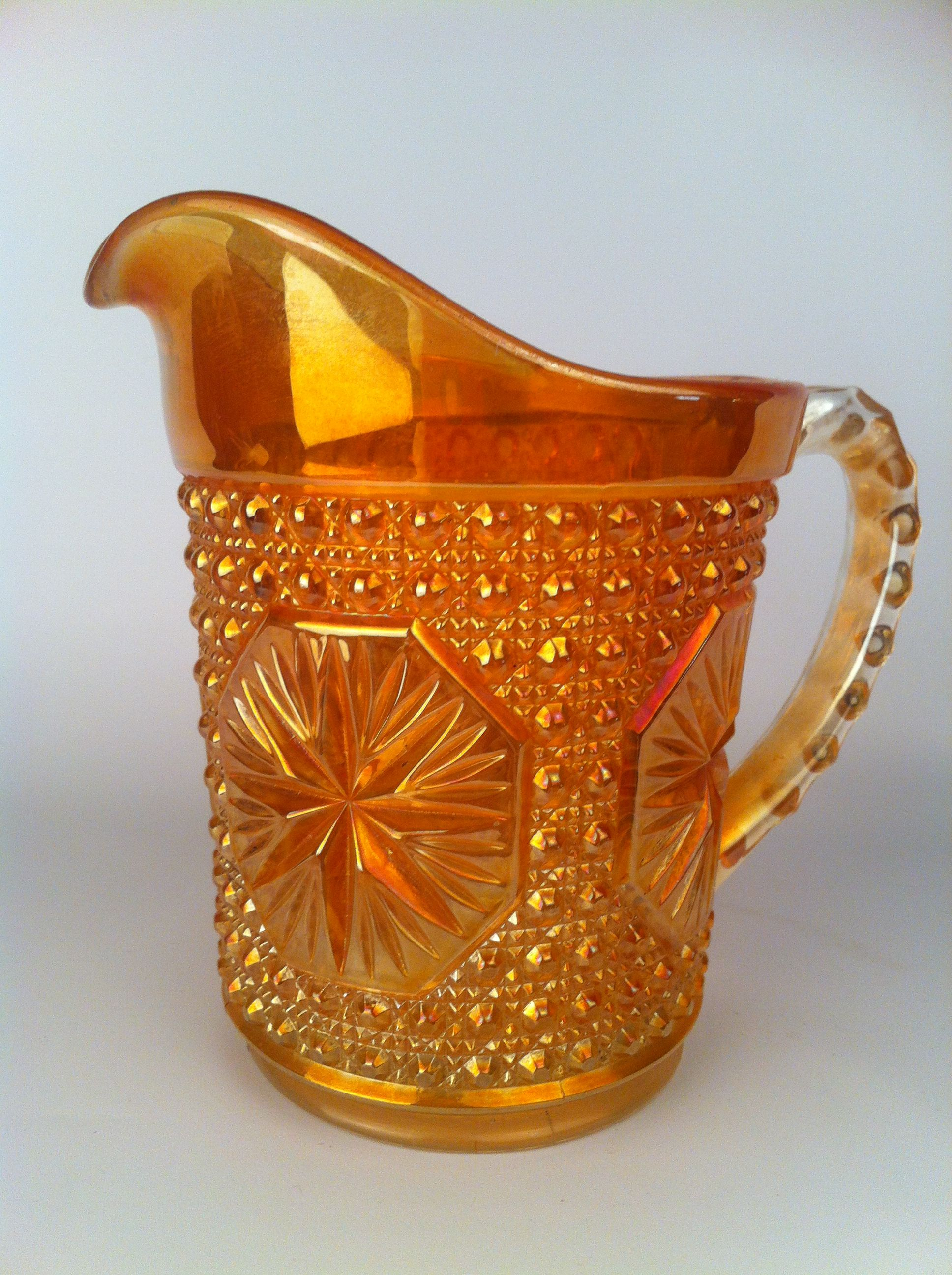 Beautiful Orange Carnival Glass Pitcher! Check out this ... - photo#50