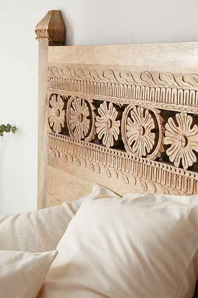 Queen Size Boho Carved Wood Bed Headboard Handmade Wall Art