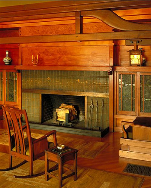 Craftsman Style Fireplace (I should know where this is.. this house is in my Bungalows book, I recognize those rafters!) #craftsmanstylehomes