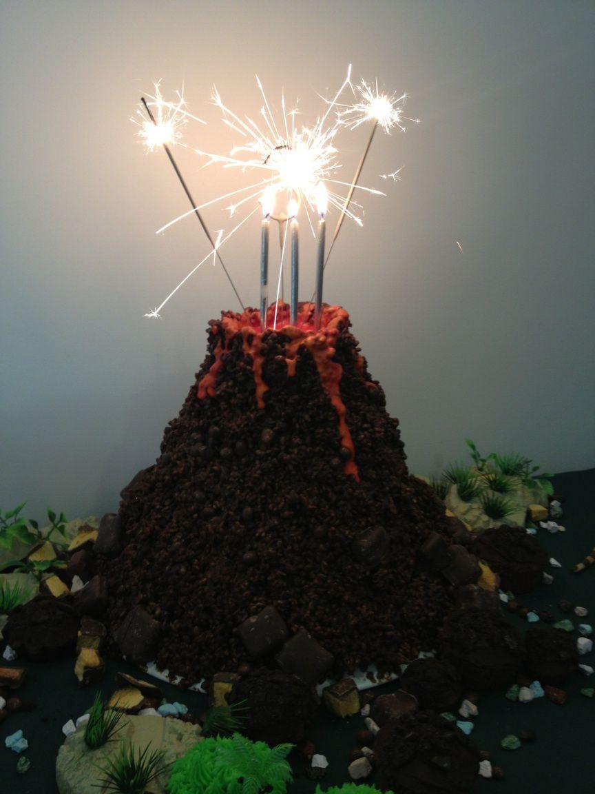 Dinosaur volcano cake.