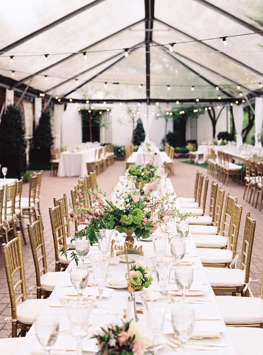 Long Wedding Reception Table Detail With Cafe Lighting And Clear Tent At The Lyer House