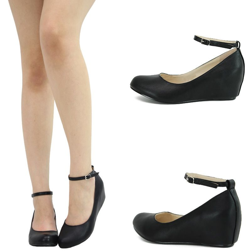 Black round toe mary jane ankle strap hidden low med wedge heel ...