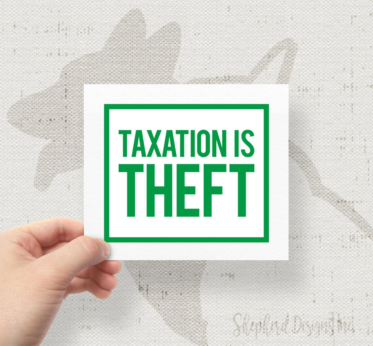 Taxation is theft 4x4 75 bumper sticker decal by shepherddesignsinc on etsy