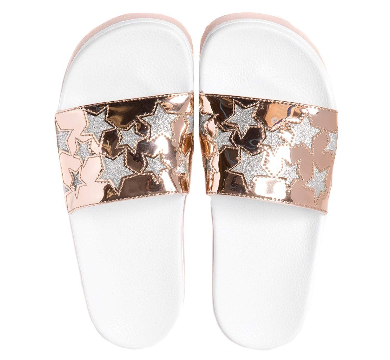 Slydes Chance Womens Slip On Sliders Flip Flops Slides Sparkle S0075S456 Z2A
