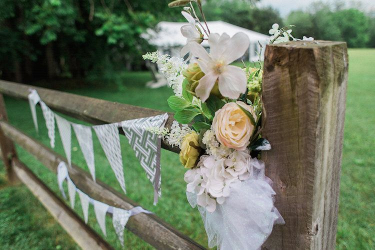 DIY wedding decor for outdoor wedding. View more from this romantic blue and gray wedding in Greeneville, Tennessee, with DIY details! Pics by JCorr Photography | The Pink Bride® www.thepinkbride.com