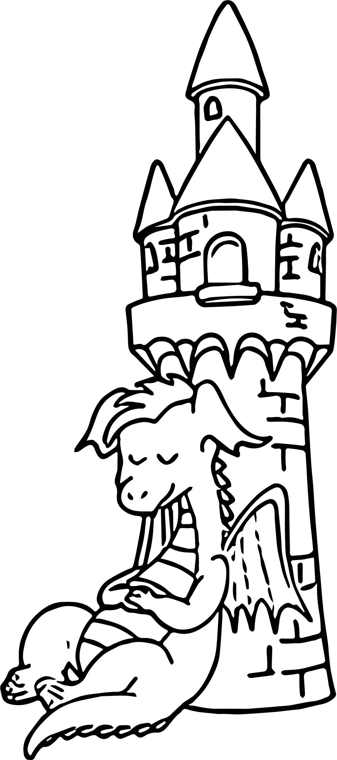 Awesome Sleeping Castle Dragon Coloring Page Dragon Coloring Page Coloring Pages Bible Coloring Pages