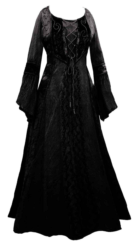 d1c2ed84f913e Long Black Medieval Princess Dress 10 12 14 16 18 20 22 24 26 28 30 32 Plus  Size Goth Gothic Occult Fancy Skirt Corset Velvet Witch (10 12)   Amazon.co.uk  ...