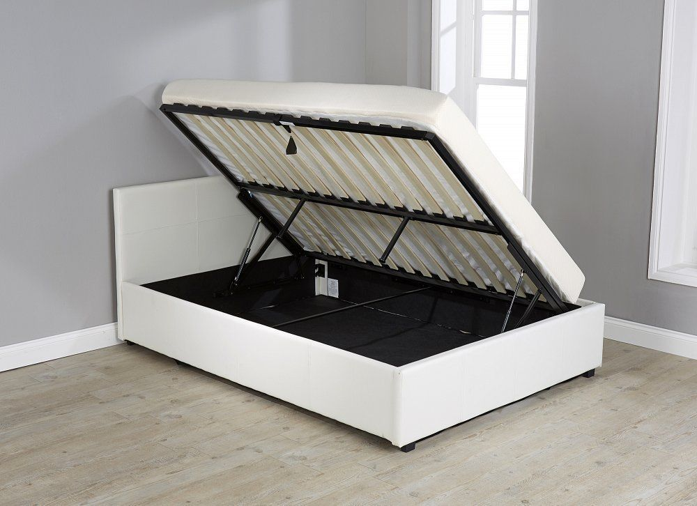 3ft Single Faux Leather Side Lift Up Storage Bed White Lift