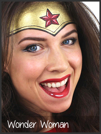 Face Painting By Mimick I Like This Version Of Wonder Woman Girl Face Painting Superhero Face Painting Face Painting Halloween