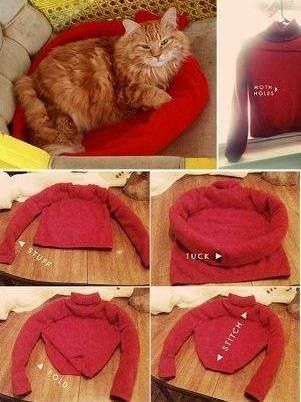 Diy Cat Bed Using An Old Sweater Catsdiytent Diy Cat Tent Diy Cat Bed Cat Tent