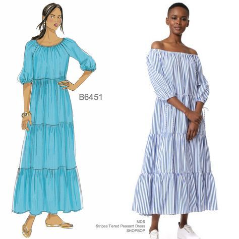 Sew the Look: Butterick B6451 tiered peasant dress sewing pattern ...