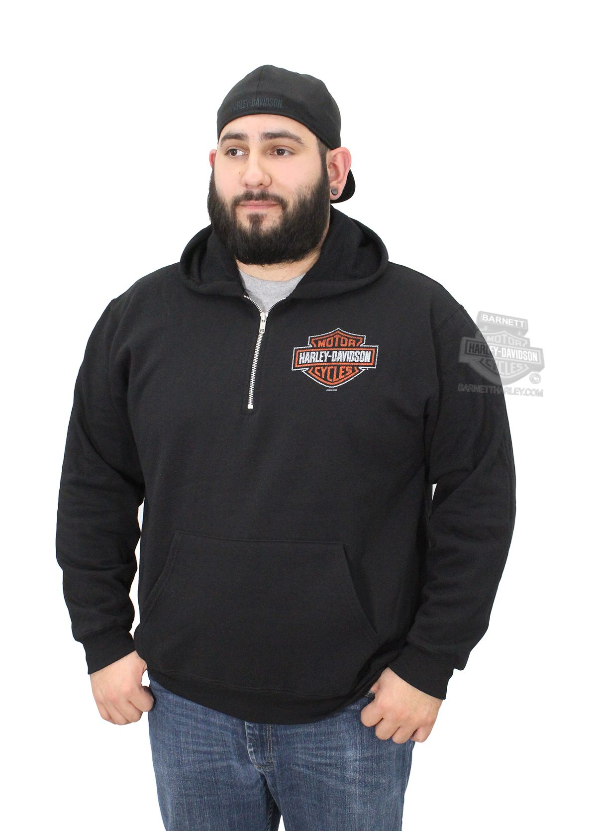 Harley-Davidson® | 5H35-HA91 | Harley-Davidson® Mens No RPM Gauge Distressed B&S 1/4-Zip Pullover Black Long Sleeve Hoodie