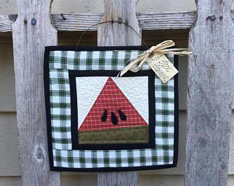 SANDÍA edredón - primitivo Mini Quilt - verano arte popular Peg gancho - país ornamento Americana Decor