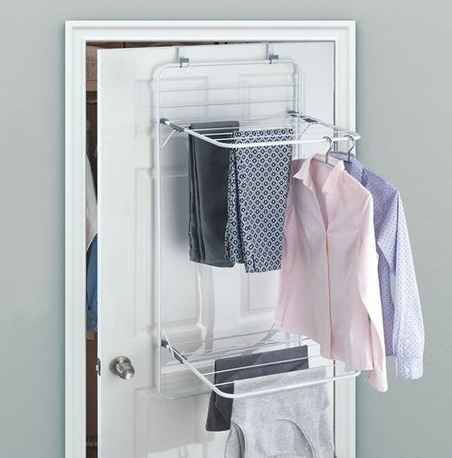 Over Door Clothes Drying Rack Utility Storage Laundry