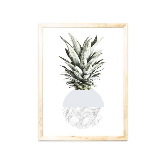 Poster Pineapple Grey Nordic Print Marble Wohnzimmer