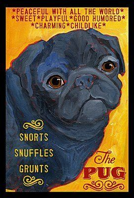 Amazon Com Colorful Black Pug Dog Print From Oil Original By