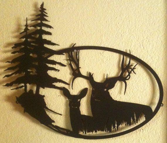Big Buck with Doe Metal Wall Art N6 by RustyRoosterMetal on Etsy ...