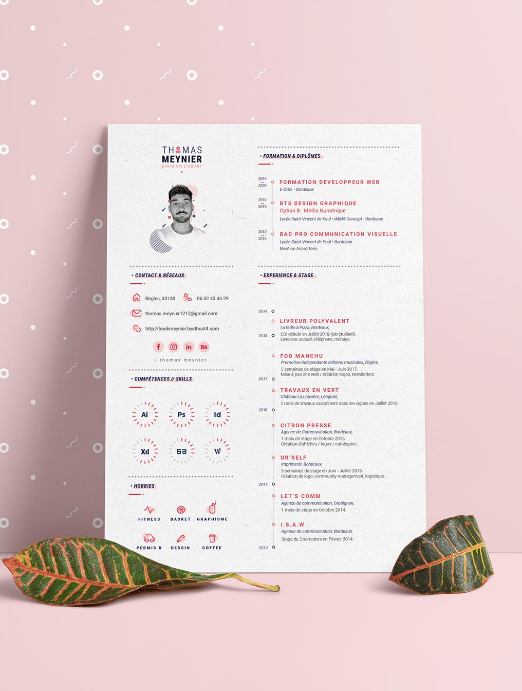 Resume Design Templates Ai Eps A4 Paper Size Download Desain Resume Desain Cv Cv Kreatif