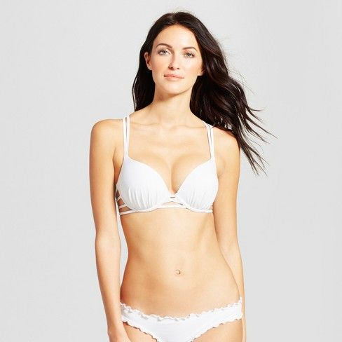 bffedb17d9 Women s Shell Strappy Cross Back Push-Up Halter Bikini Top - Shade   Shore