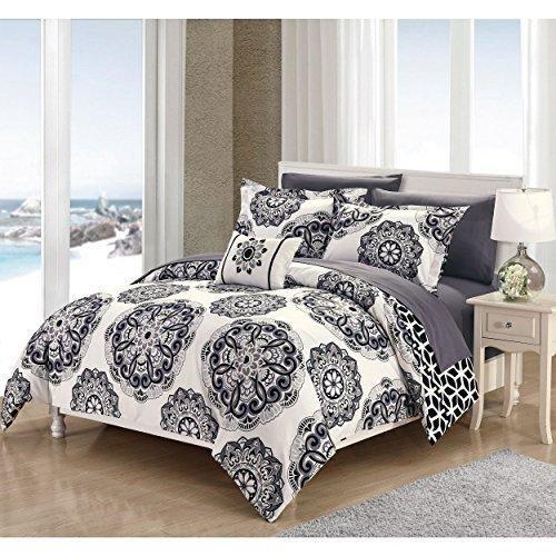 black grey mandala floral pattern comforter sheets king set elegant large embroidered medallion motif design geometric bedding soft comfy microfiber