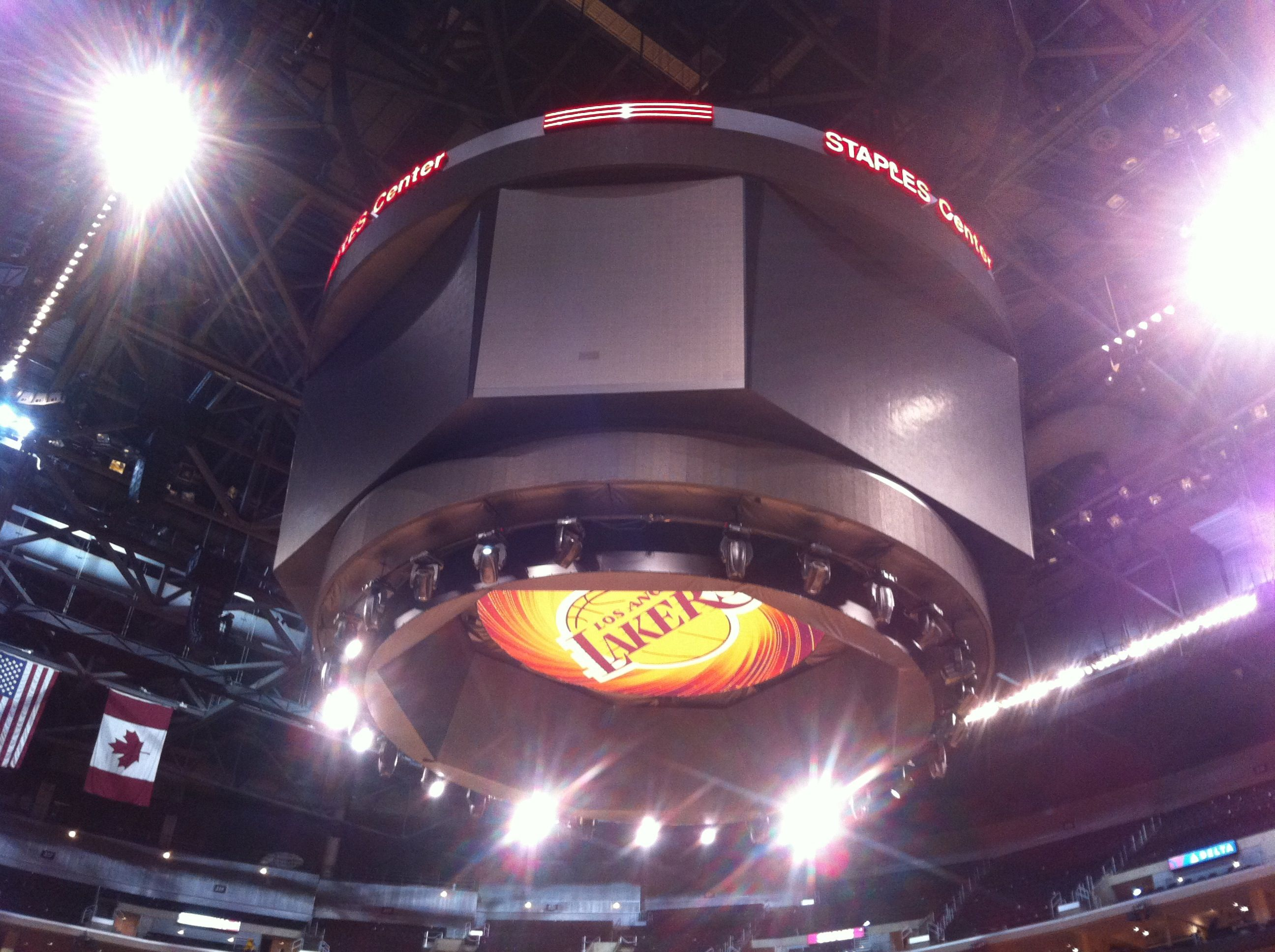 Laker scoreboard at Staples Center Los Angeles