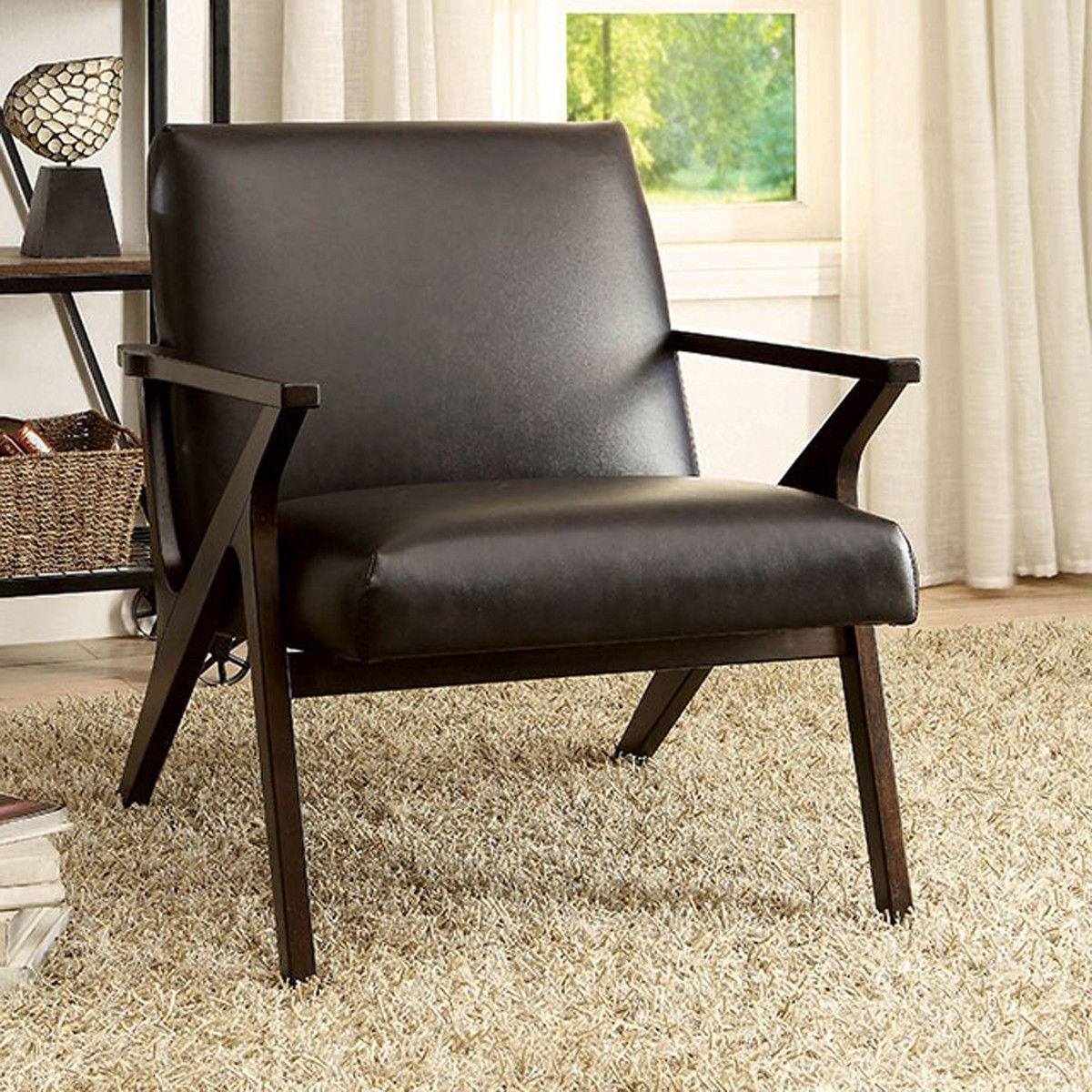 Dark Brown Accent Chairs.Dubois Ac6265br Dark Brown Leatherette Accent Chair Accent Chair