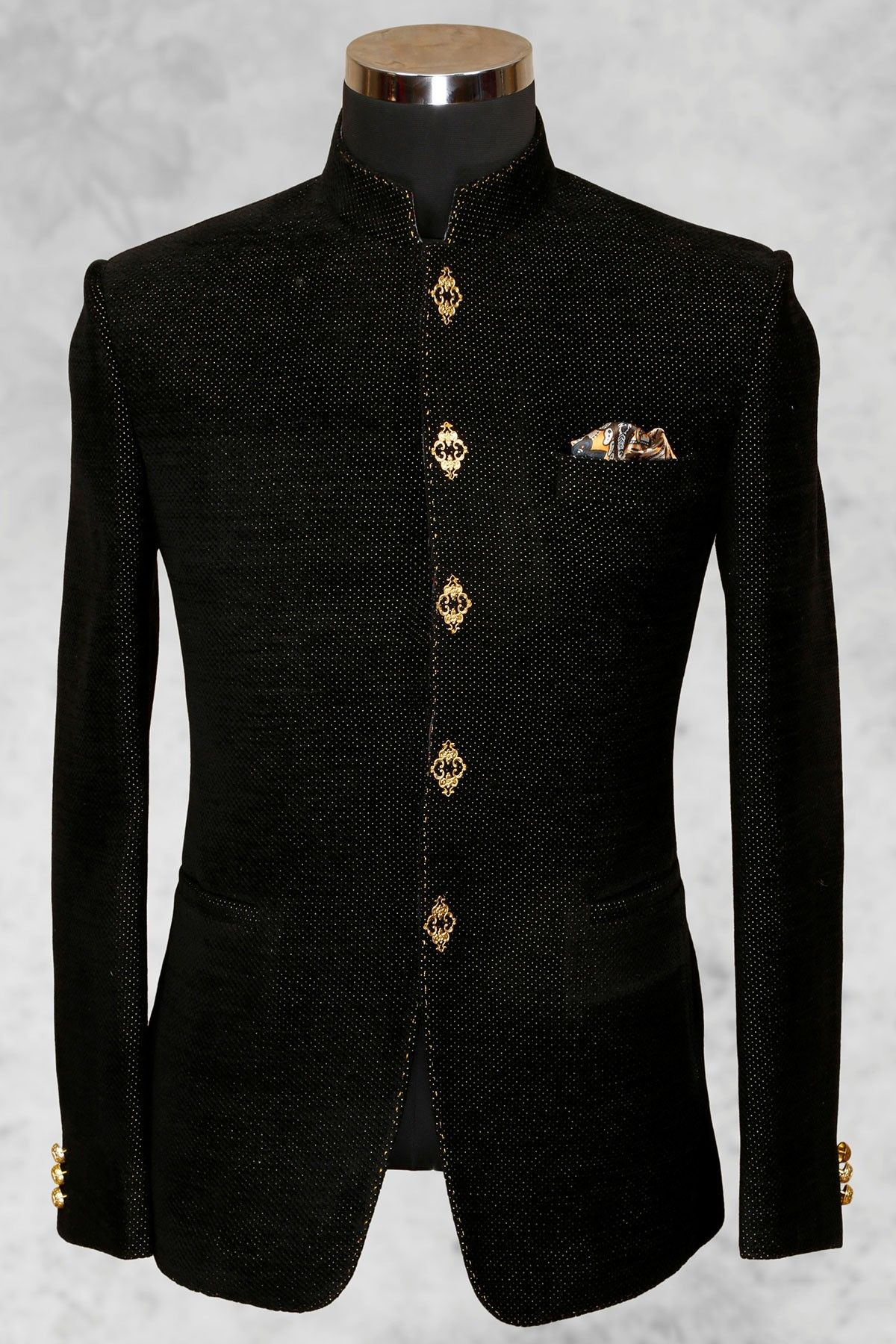 Black well dressed jute suit with bandhgala collar-ST518 ...