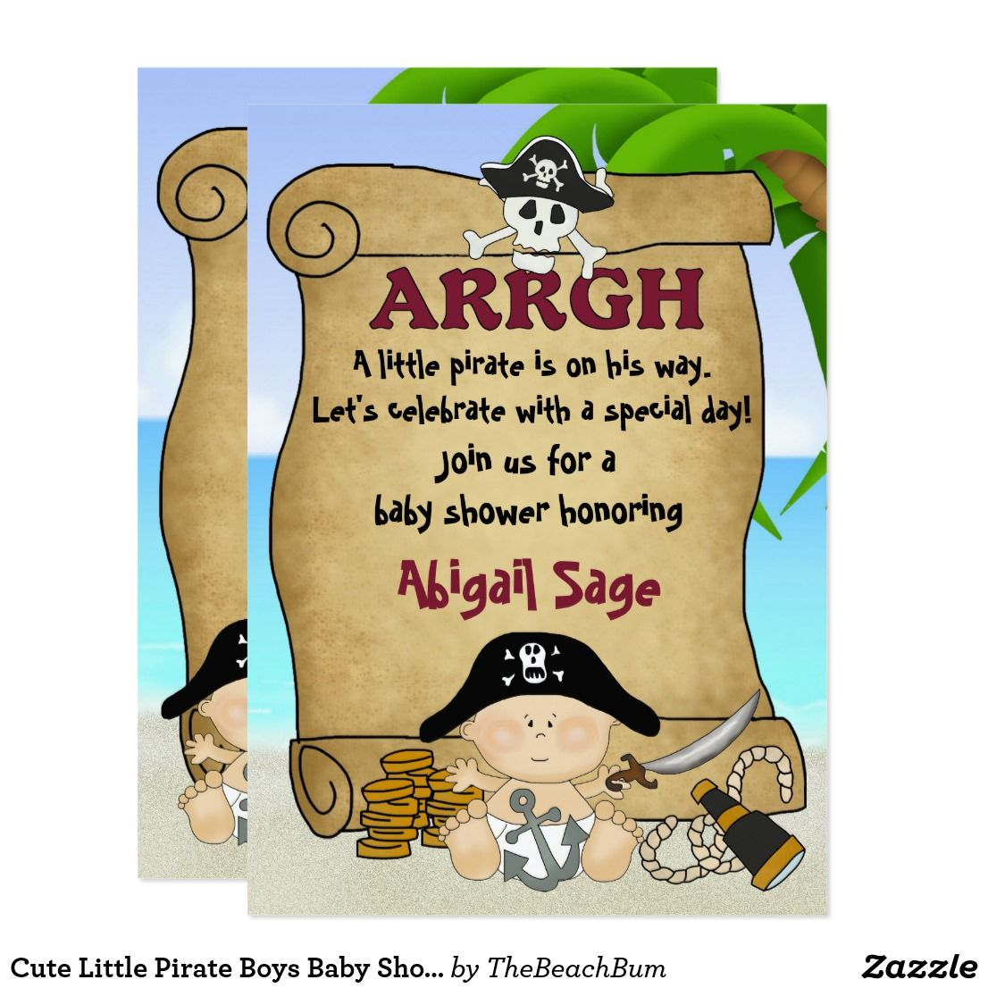 Cute Little Pirate Boys Baby Shower Invitation | Boy baby showers ...