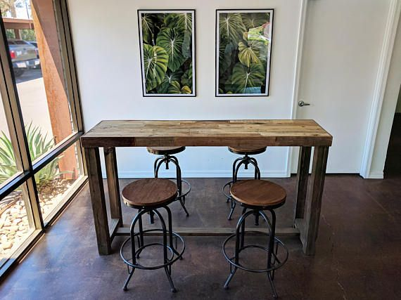 Reclaimed Wood Bar Table Restaurant Counter Community Communal Etsy Wood Bar Table Reclaimed Wood Bars High Top Tables
