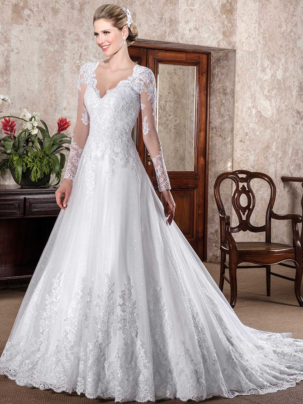 Click to buy ucuc vestido de noiva long sleeves wedding dresses