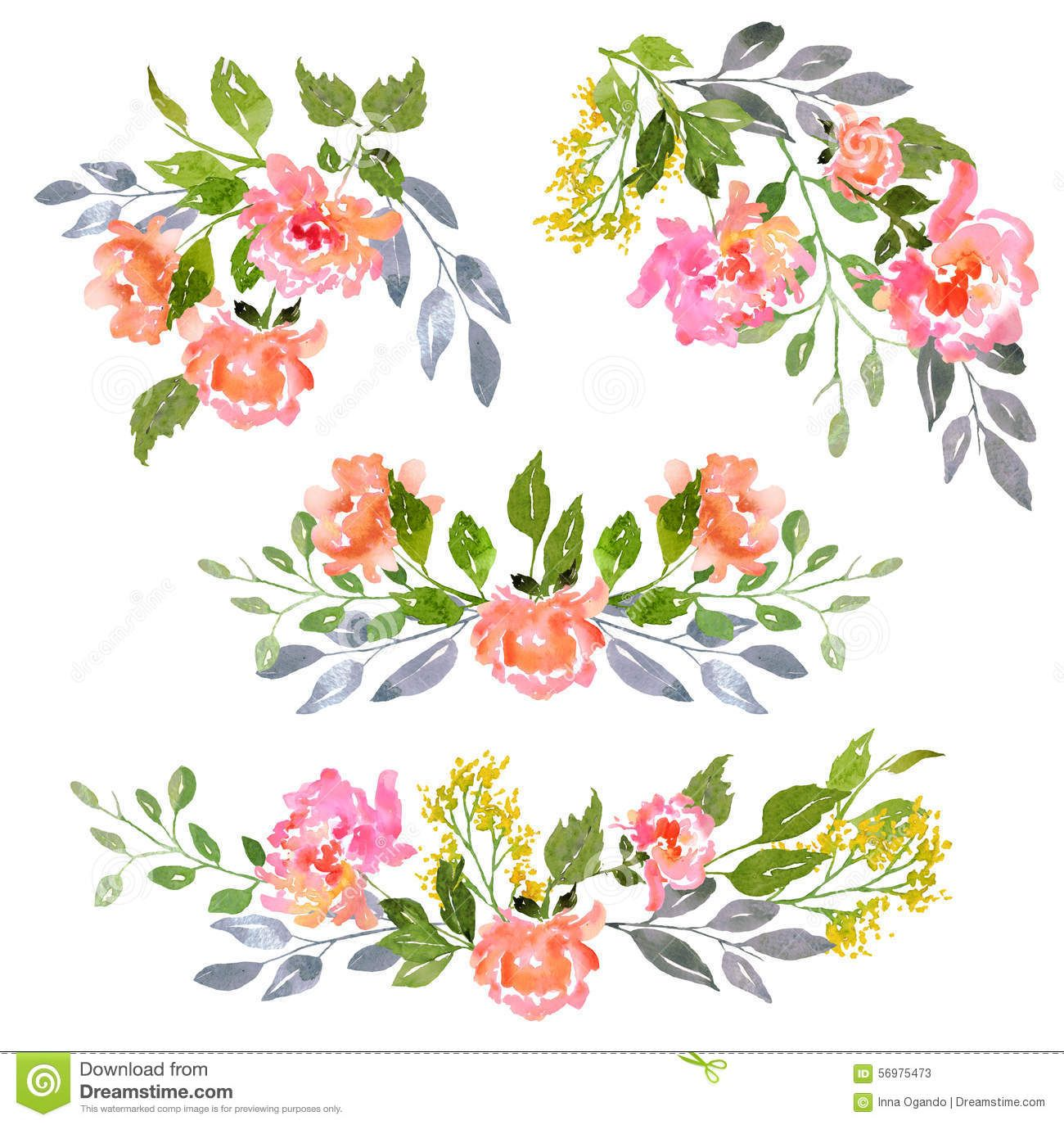 Set of watercolor floral composition download from over for Watercolor painting templates free
