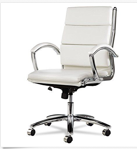 white leather conference room table chair w padded arms chrome