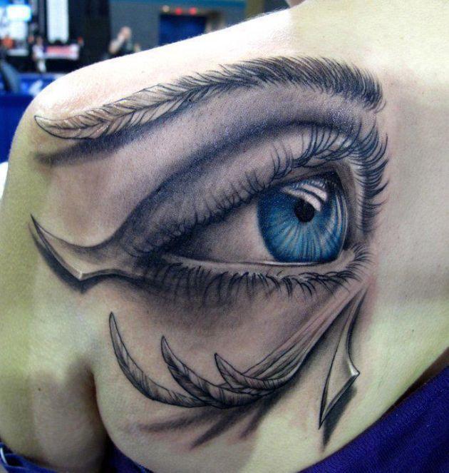 2c47f95a2e793 LOVE THIS Shoulder Tattoo - Blue Eye Tattoo - Egyptian Tattoo - Best Tattoos  Ever - Tattoo by Stefano Alcantara - 01
