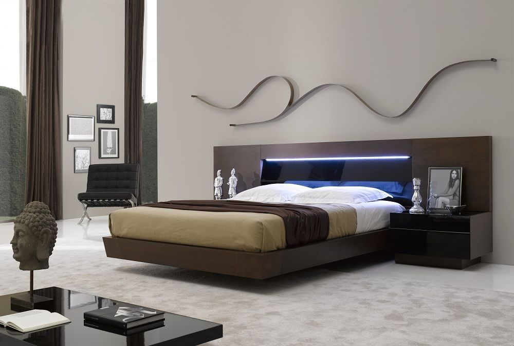Real Wood Tobacco Platform Bed with Tinted Black Glass ...