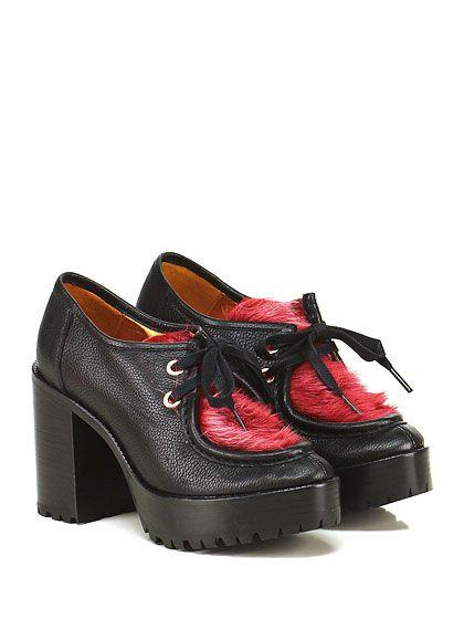 RAS - Scarpa con tacco - Donna - Scarpa con tacco in pelle martellata e lapin…