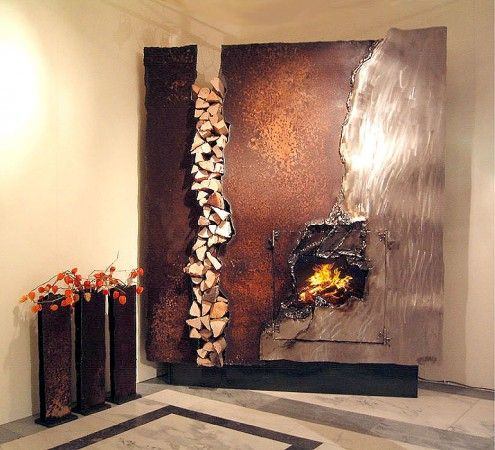No mantel needed with this artisan fireplace | Foyer - Fireplace ...
