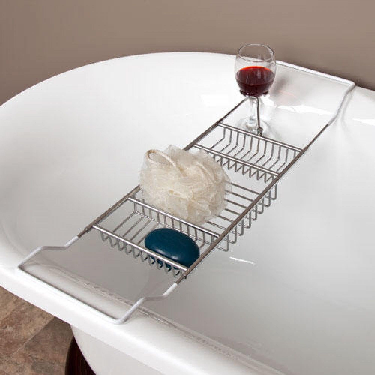 Stillwell Tub Caddy with Wine Glass Holder - Clawfoot Tub ...
