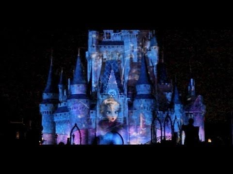 The Frozen Segment Of Celebrate Magic Castle Projection Show Features Elsa Snow Queen Idina Menzel From Disney Movie Singing